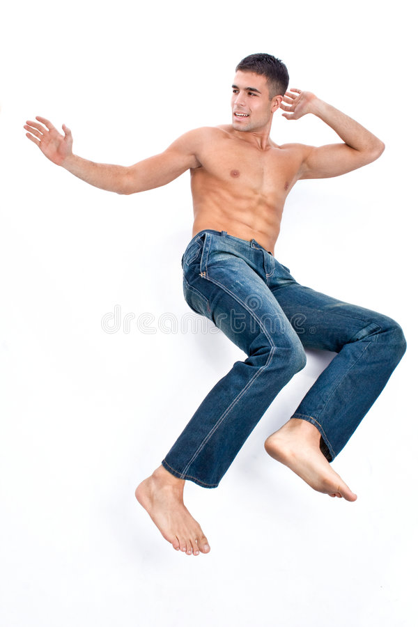 Uomo in blue jeans immagine stock