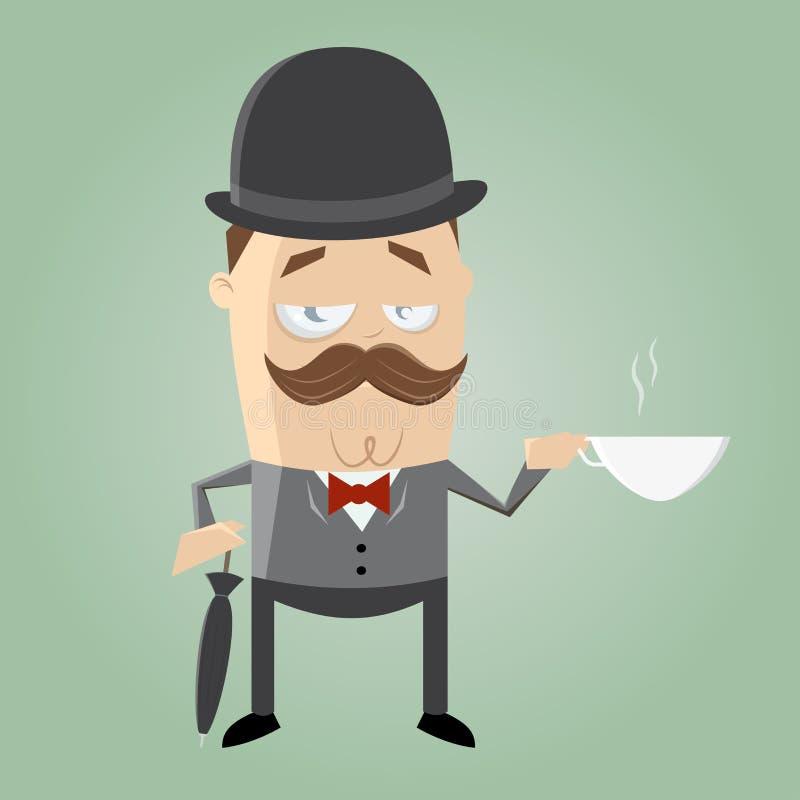 Uomo britannico con tè illustrazione di stock