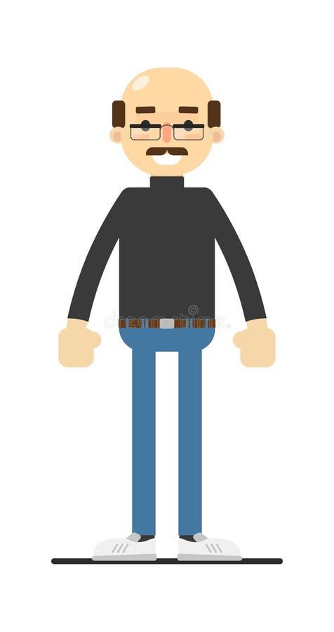 Uomo calvo adulto con i baffi in camicia e jeans illustrazione di stock