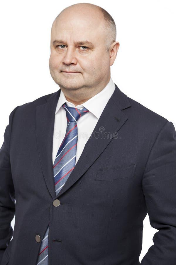 Uomo calvo adulto in un vestito fotografia stock