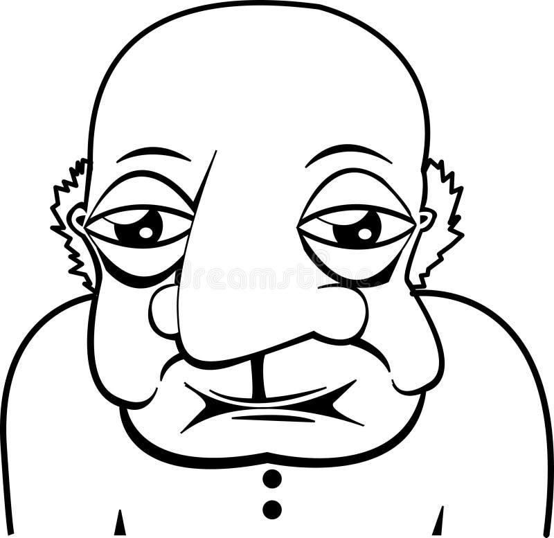 Uomo calvo anziano anziano illustrazione vettoriale