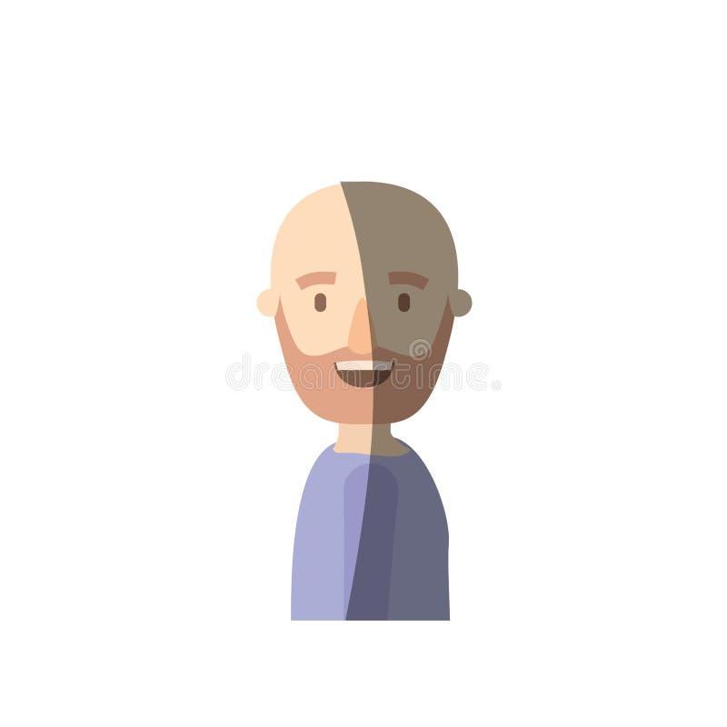 Uomo calvo del mezzo ente di vista laterale di caricatura di ombreggiatura di colore leggero barbuto illustrazione vettoriale