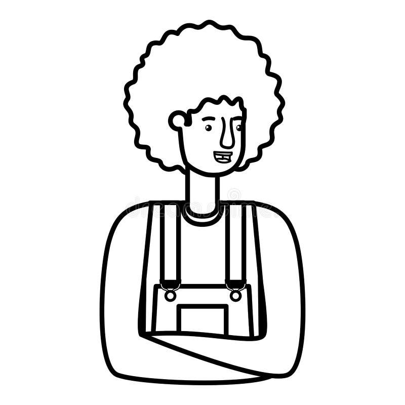Uomo in camici e nel carattere dell'avatar dei capelli di afro illustrazione vettoriale