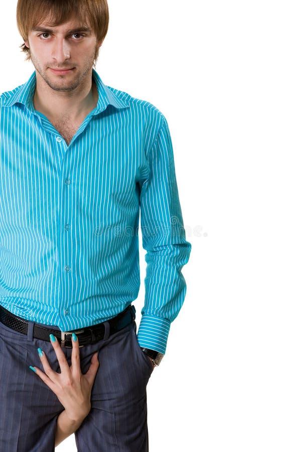 Uomo in camicia blu immagini stock libere da diritti