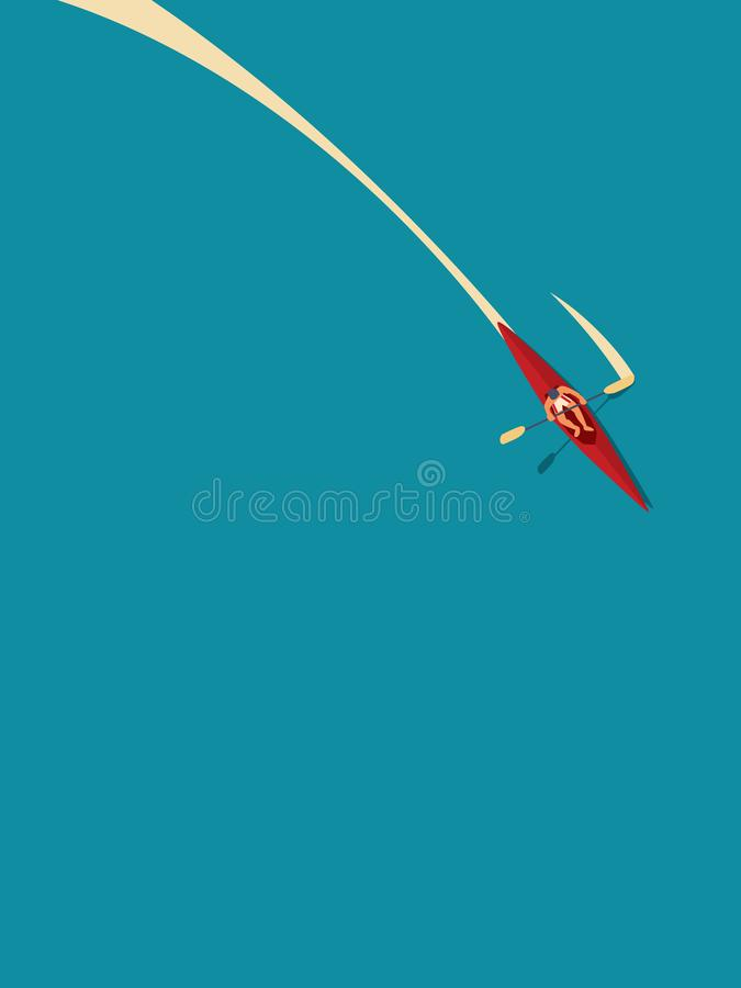 Uomo in canoa o kajak che rema in acqua, concetto di vettore di vacanza estiva Simbolo di ricreazione, sport, attivo all'aperto royalty illustrazione gratis