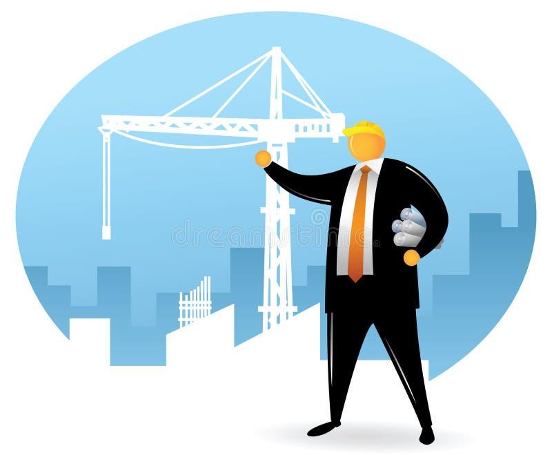Uomo capo arancione su costruzione royalty illustrazione gratis