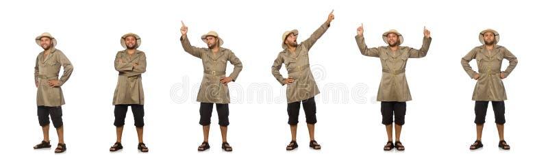 Uomo in cappello di safari isolato su bianco fotografia stock