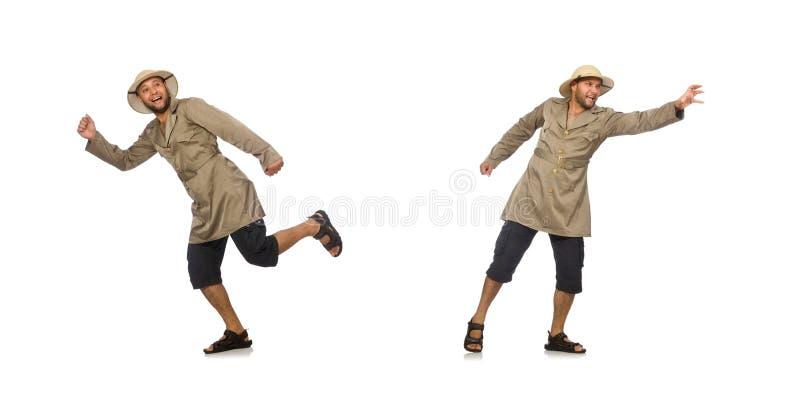 Uomo in cappello di safari isolato su bianco immagine stock libera da diritti