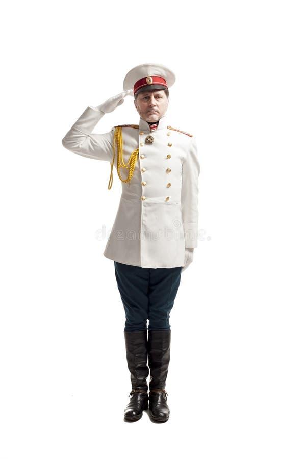 Uomo in cappotto russo dell'ufficiale fotografia stock