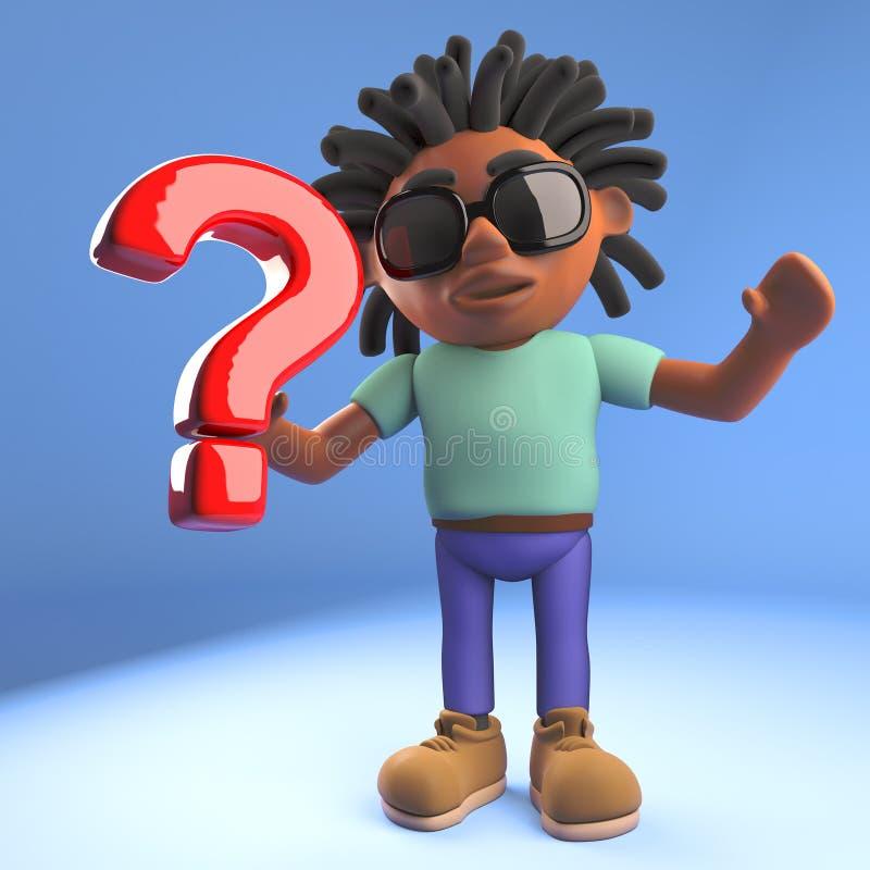 Uomo caraibico di afro nero fresco con i dreadlocks che tengono un simbolo del punto interrogativo, illustrazione 3d illustrazione di stock