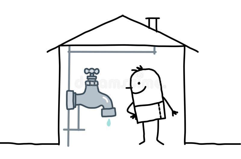 Uomo in casa & in impianto idraulico royalty illustrazione gratis