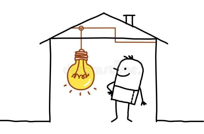 Uomo in casa & in lampadina illustrazione di stock