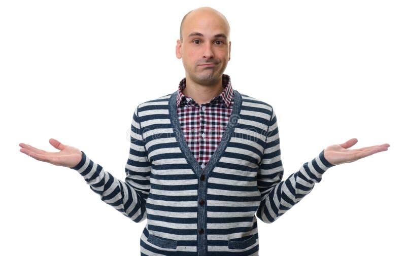 Uomo casuale confuso che dà il don& x27 di I; la t conosce il gesto fotografie stock