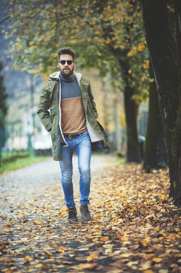 Uomo casuale di stile di hippy che cammina fra le foglie di autunno fotografia stock libera da diritti