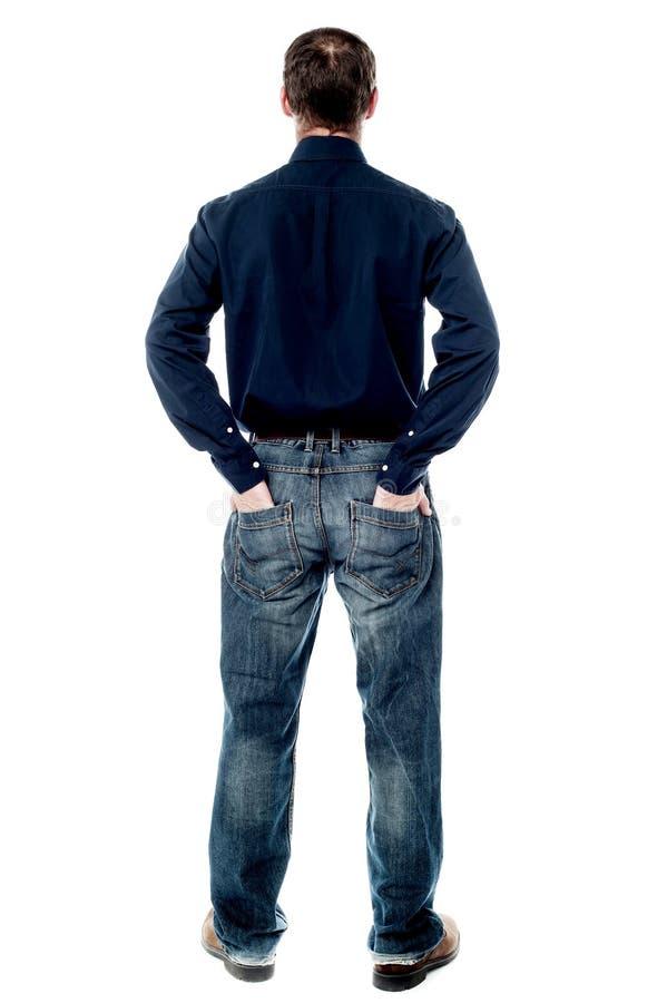 Uomo casuale invecchiato mezzo dalla parte posteriore fotografie stock