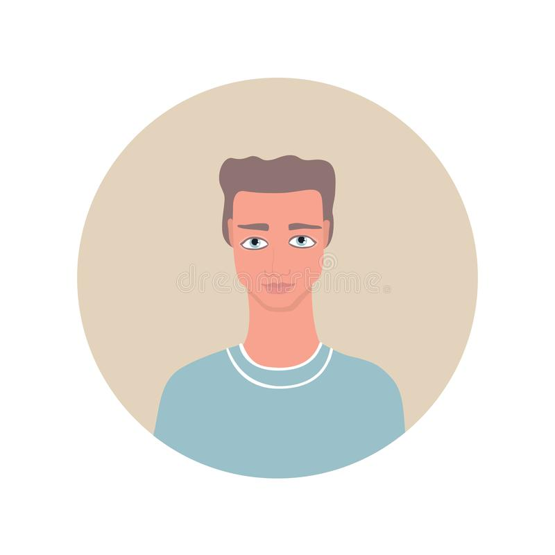Uomo caucasico bello del giovane ritratto adulto con gli occhi azzurri marrone chiaro ondulati dell'acconciatura che indossano l' illustrazione vettoriale