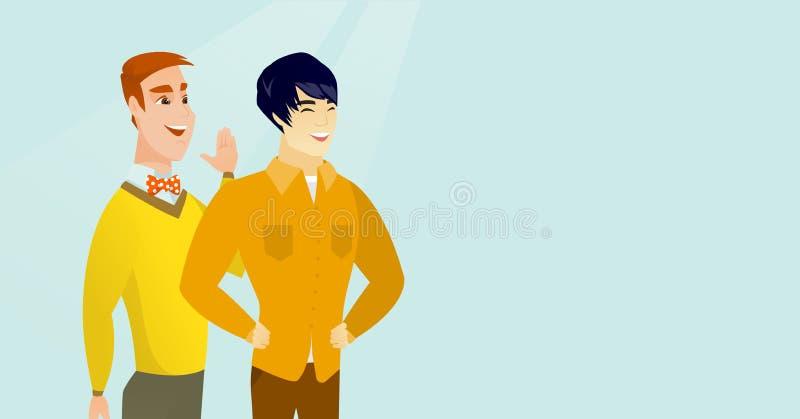 Uomo caucasico che bisbiglia ad un amico un segreto illustrazione vettoriale