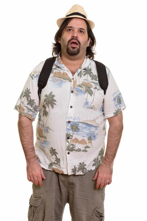 Uomo caucasico grasso che sembra pronto stanco per la vacanza fotografie stock