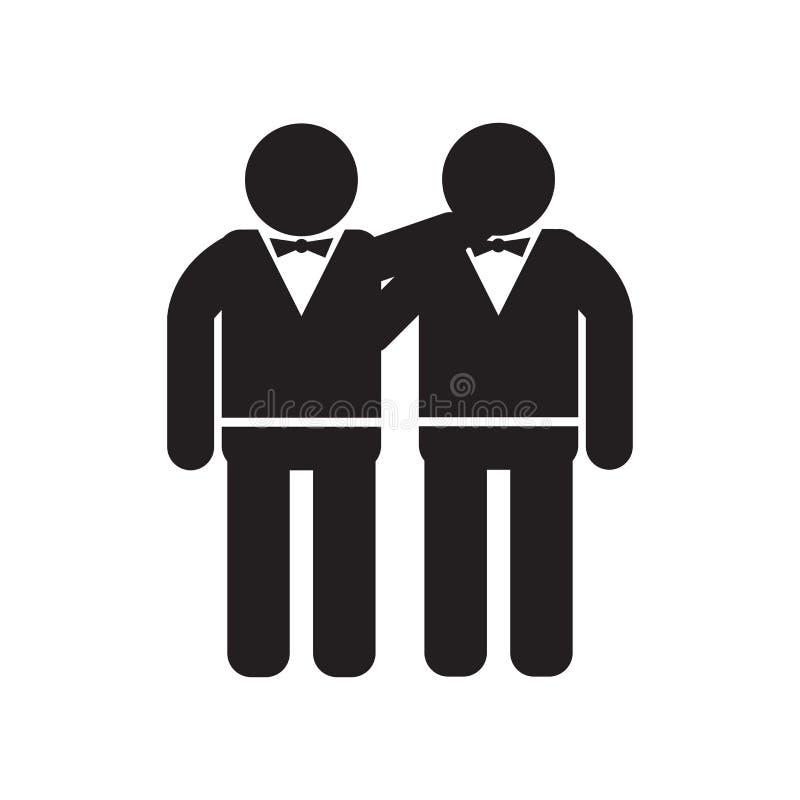 Uomo che abbraccia il segno e simbolo di vettore dell'icona isolati su fondo bianco, uomo che abbraccia concetto di logo royalty illustrazione gratis