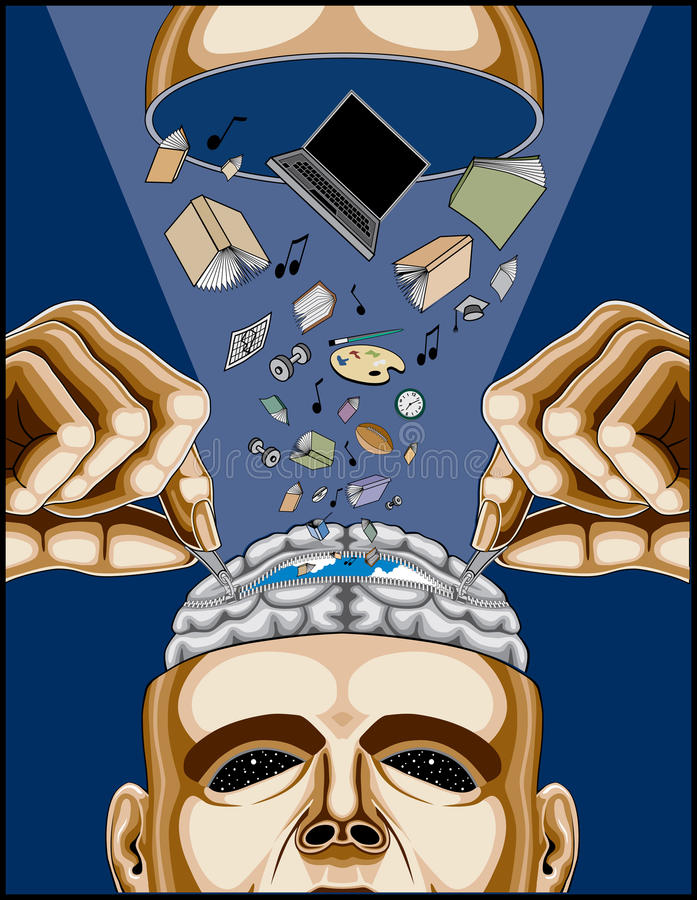 Uomo che alimenta il suo cervello Zippered illustrazione vettoriale