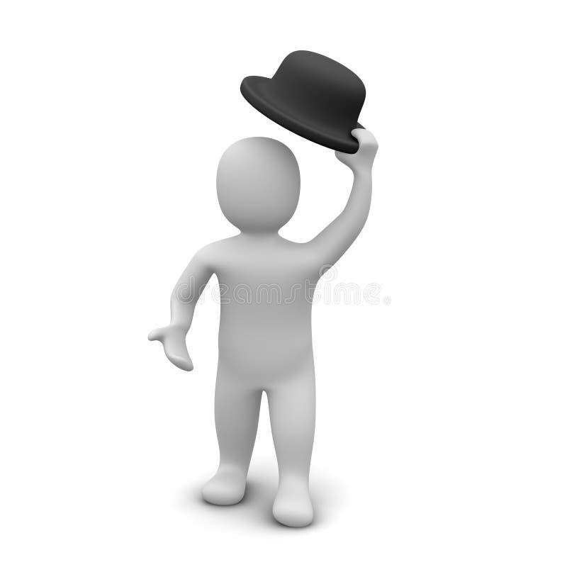 Uomo che alza il cappello illustrazione di stock