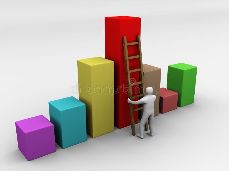 Uomo che arrampica in su il simbolo dello schema illustrazione di stock