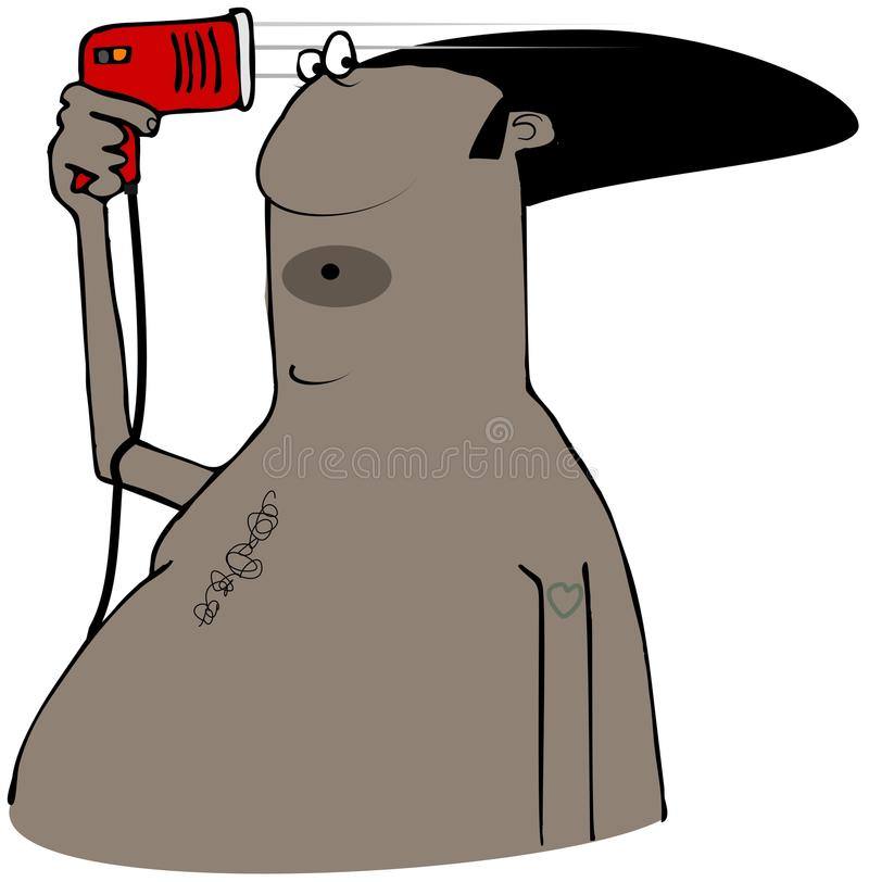 Uomo che asciuga col phon il suo afro illustrazione vettoriale