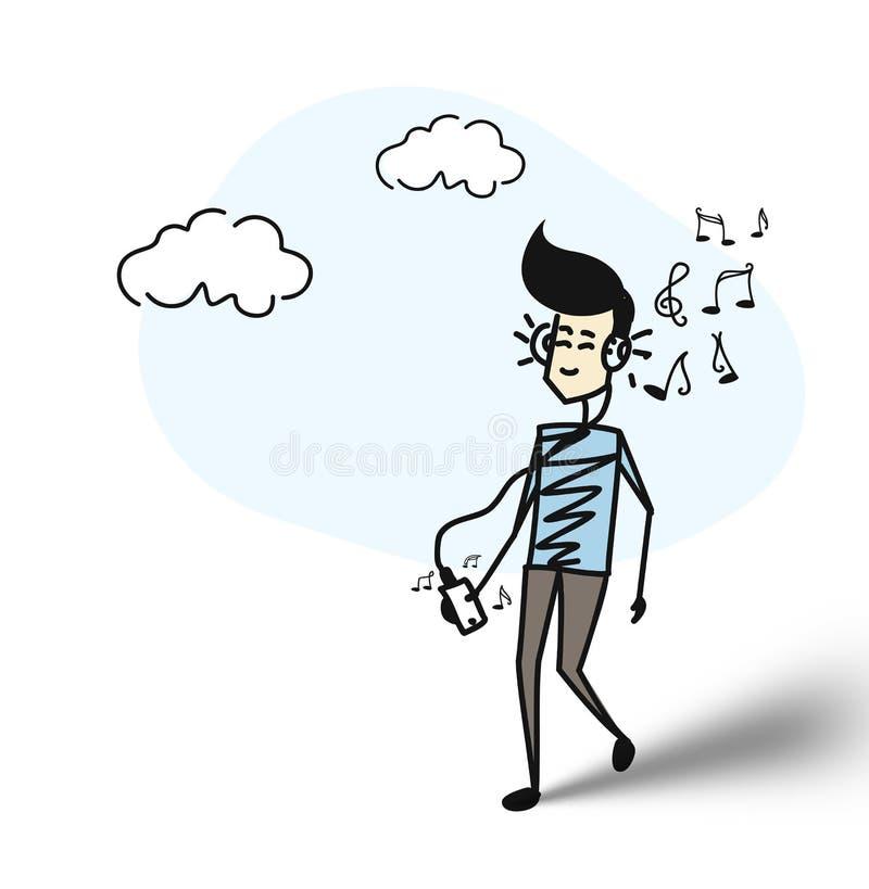 Uomo che ascolta la musica con le cuffie illustrazione vettoriale