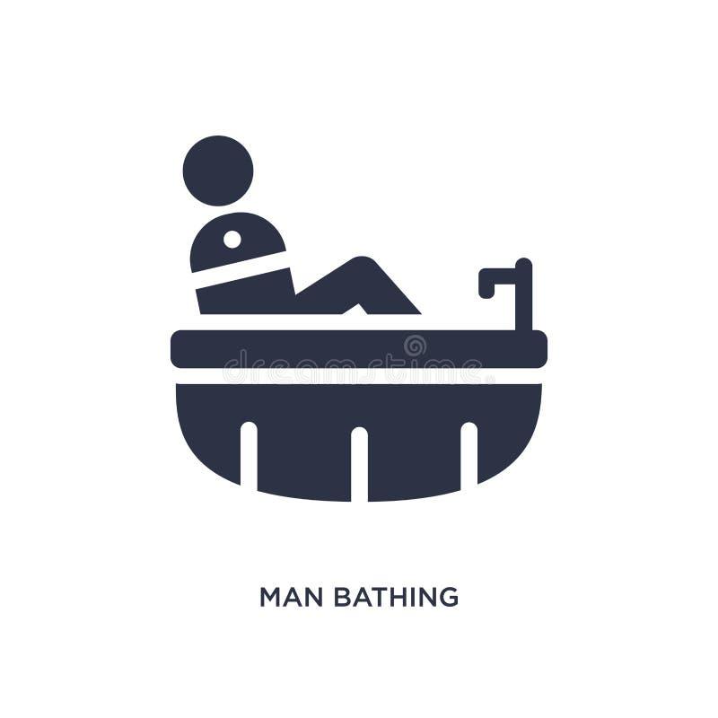 uomo che bagna icona su fondo bianco Illustrazione semplice dell'elemento dal concetto di comportamento royalty illustrazione gratis