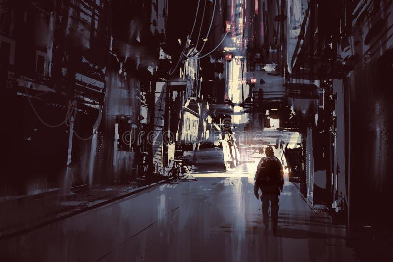 Uomo che cammina da solo nella città scura illustrazione di stock