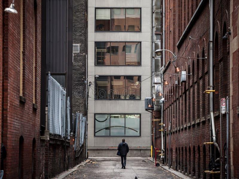 Uomo che cammina da solo in una via del vicolo cieco al fondo dei grattacieli a Toronto del centro, Ontario, Canada, nel CBD fotografia stock libera da diritti