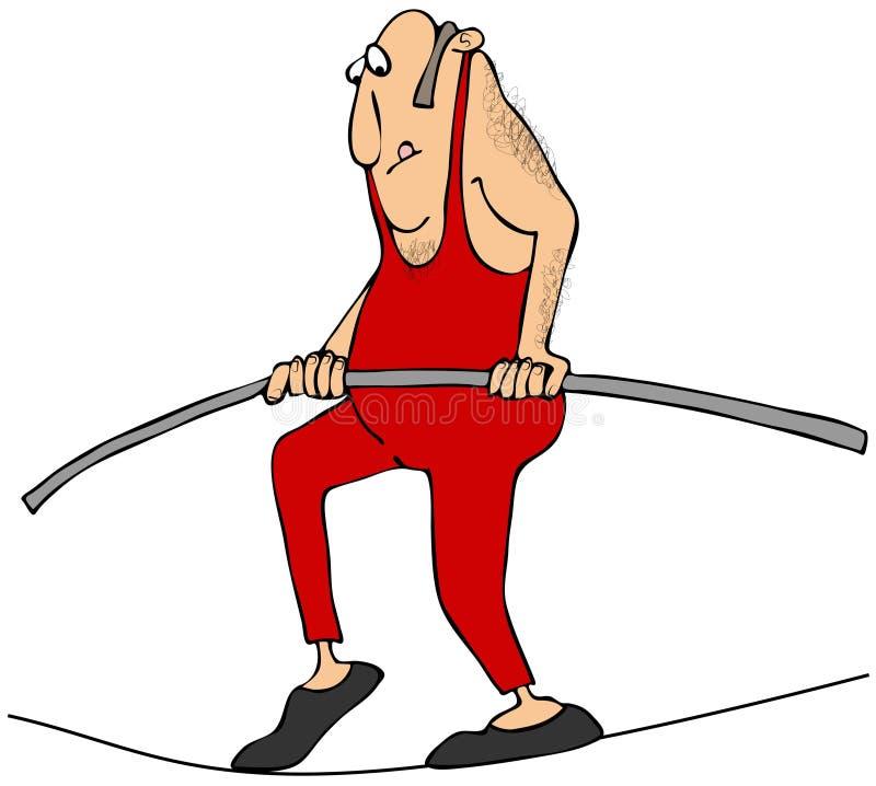 Uomo che cammina una corda per funamboli royalty illustrazione gratis