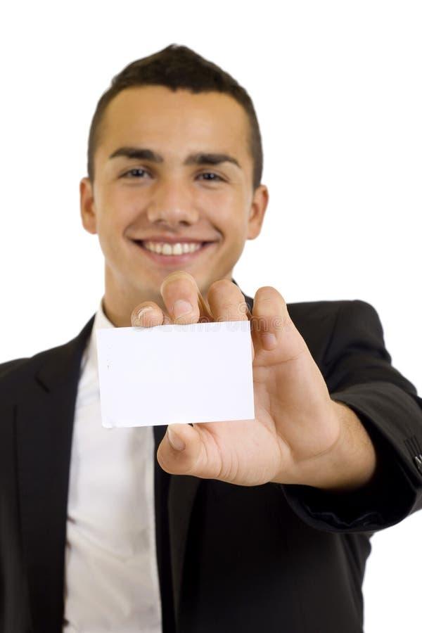 Uomo che dà una scheda in bianco immagine stock libera da diritti