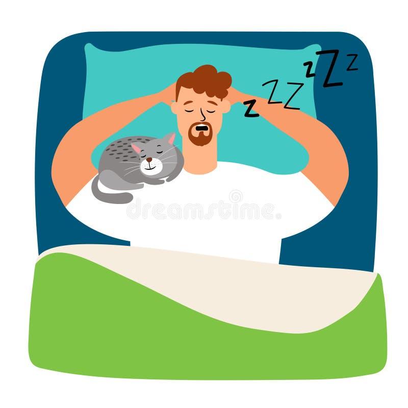 Uomo che dorme a letto con il gatto royalty illustrazione gratis