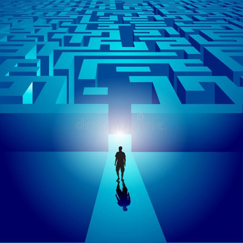 Uomo che entra in un labirinto misterioso illustrazione vettoriale
