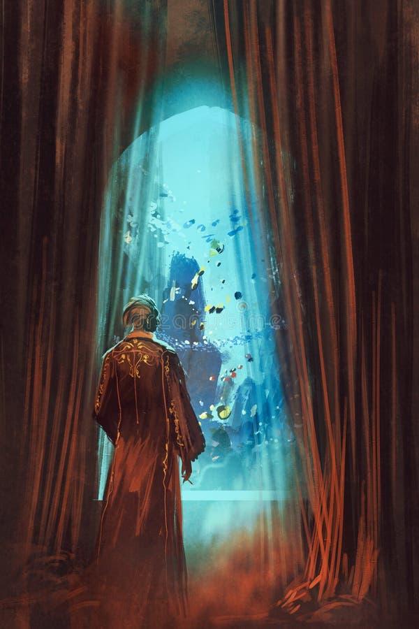 Uomo che esamina mondo subacqueo attraverso la finestra illustrazione di stock