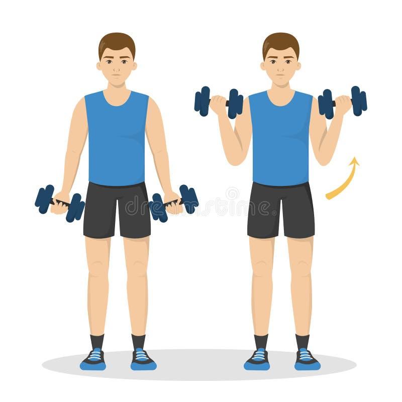 Uomo che fa allenamento del braccio Idea dello stile di vita sano e attivo royalty illustrazione gratis