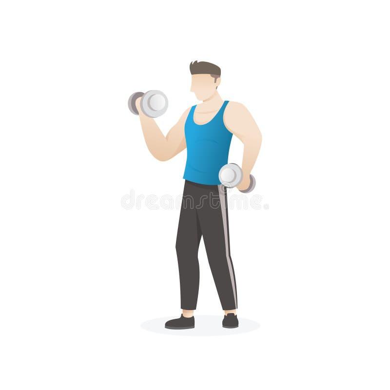 Uomo che fa esercizio con le teste di legno illustrazione vettoriale