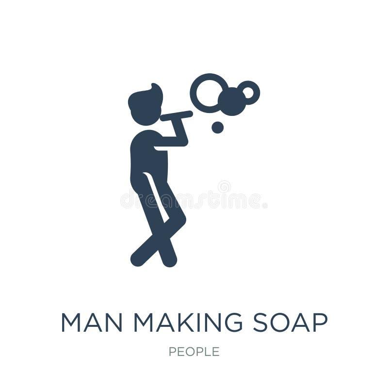 uomo che fa l'icona delle bolle di sapone nello stile d'avanguardia di progettazione uomo che fa l'icona delle bolle di sapone is royalty illustrazione gratis