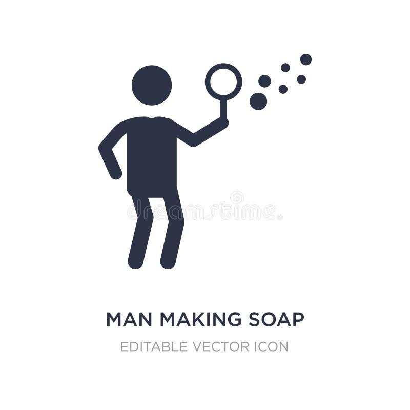 uomo che fa l'icona delle bolle di sapone sul fondo bianco Illustrazione semplice dell'elemento dal concetto della gente royalty illustrazione gratis
