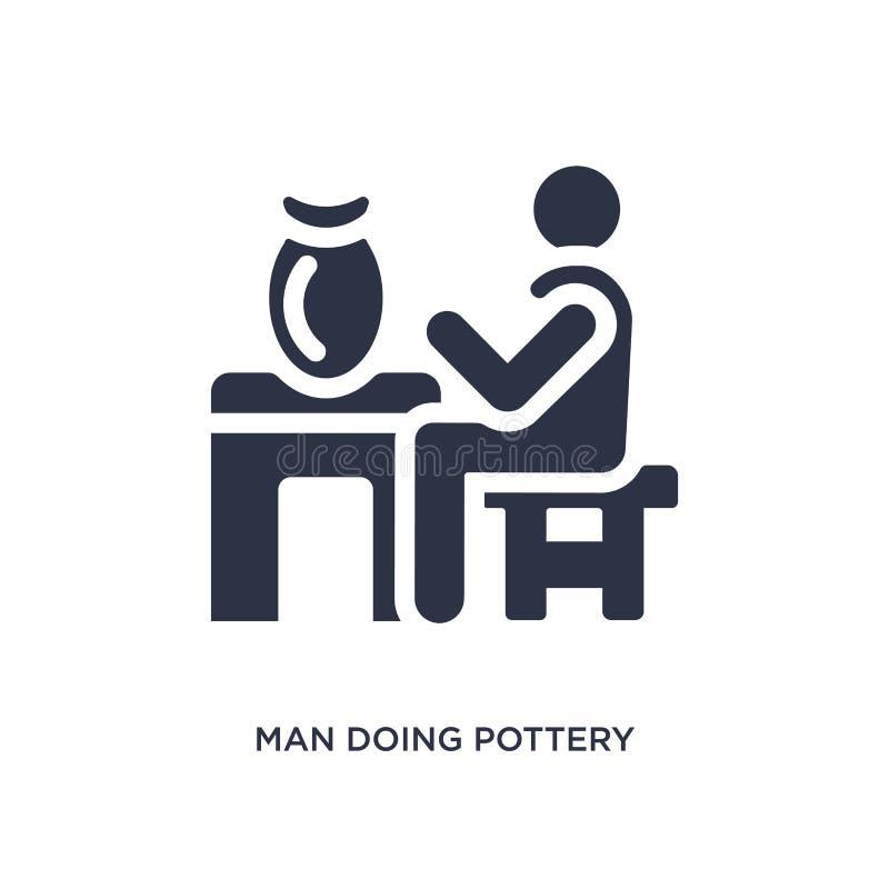 uomo che fa l'icona delle terraglie su fondo bianco Illustrazione semplice dell'elemento dal concetto di comportamento illustrazione di stock