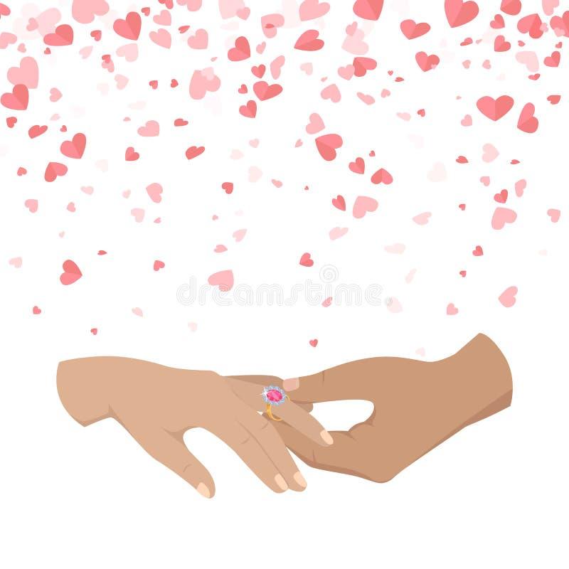 Uomo che fa la donna di proposta due, icone delle mani di vettore royalty illustrazione gratis