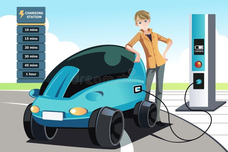 Uomo che fa pagare automobile elettrica illustrazione di stock