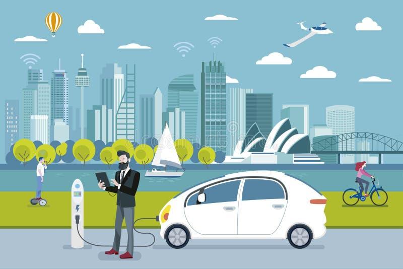 Uomo che fa pagare un'automobile elettrica a Sydney illustrazione di stock
