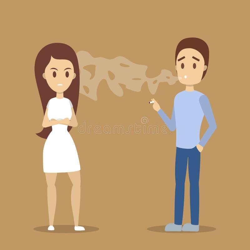 Uomo che fuma una sigaretta nel luogo pubblico royalty illustrazione gratis