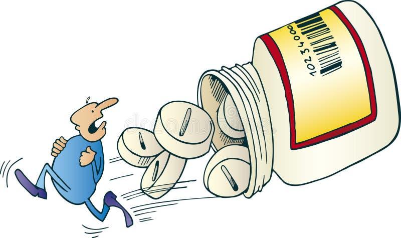 Uomo che funziona via prima di grandi pillole illustrazione di stock