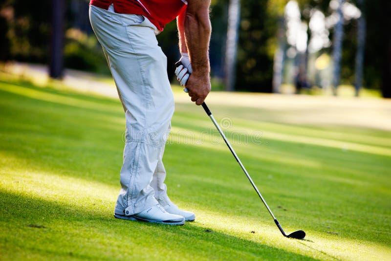 Uomo che gioca golf immagine stock