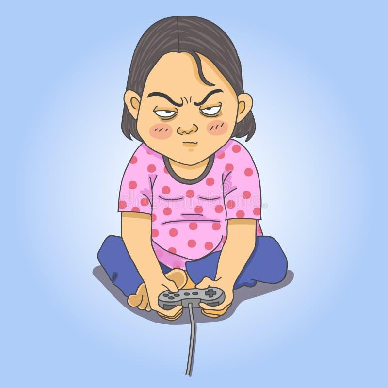Uomo che gioca i video giochi illustrazione vettoriale
