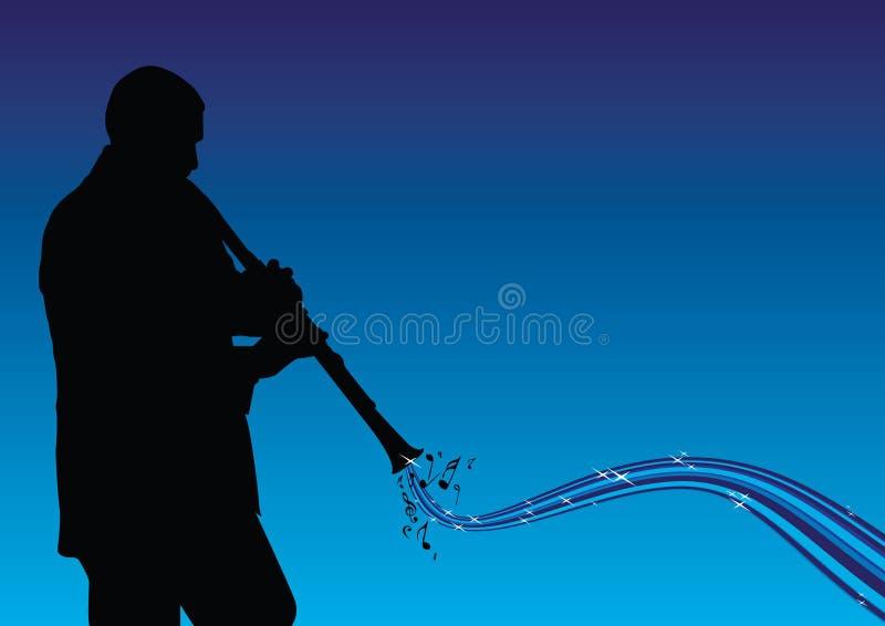 Uomo che gioca il clarinet illustrazione vettoriale