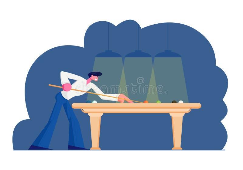 Uomo che gioca il gioco dello snooker o del biliardo, tendente stecca alla palla sulla Tabella verde del panno sotto le lampade b illustrazione di stock